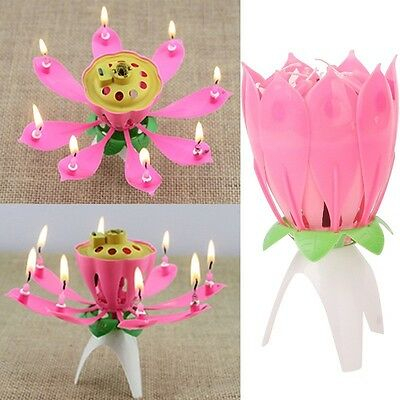 New Year Romantic Musical Lotus Flower Party Birthday Gift Candle Musical Candle