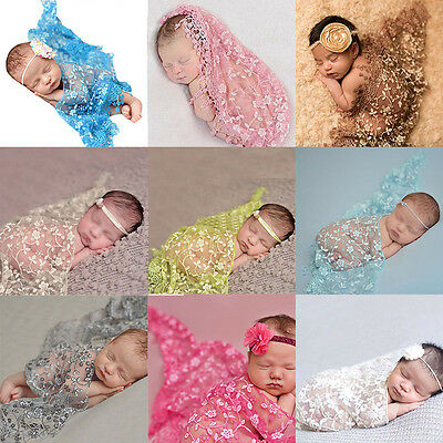 Newborn Baby Girls Lace Flower Swaddle Wrap Blanket +Headband Photo Prop Costume
