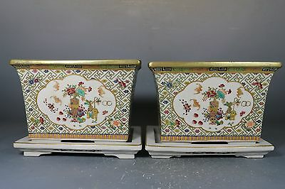 beautiful chinese famille rose porcelain a pair flowerpots