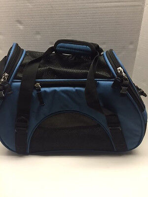 Small Soft Sided Pet Cat Dog Carrier - hand and shoulder strap Blue w/black mesh