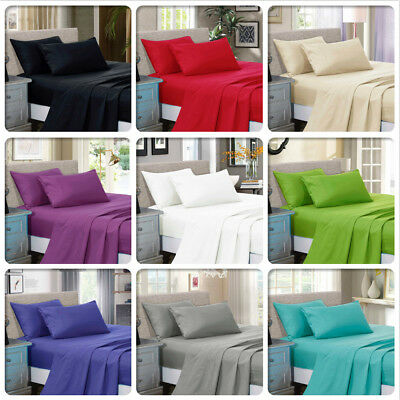 1000TC Soft Luxury Flat &Fitted Sheet Set Queen/King/Super King Size Bed New