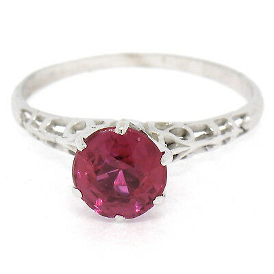 Antique Art Deco 14K White Gold Red Stone Solitaire Open Filigree Ring Sz 8