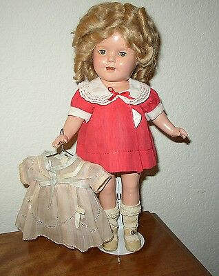 """Wonderful - Vintage Ideal Shirley Temple Doll 13"""" Composition Doll w/extra dress"""