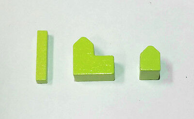 Settlers of Catan pieces: real wood - roads, settlements & cities - Lime Green