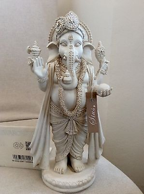 Divine Lord Ganesh Hindu God Statue, Adorned In WHITE OPAL Swarovski's