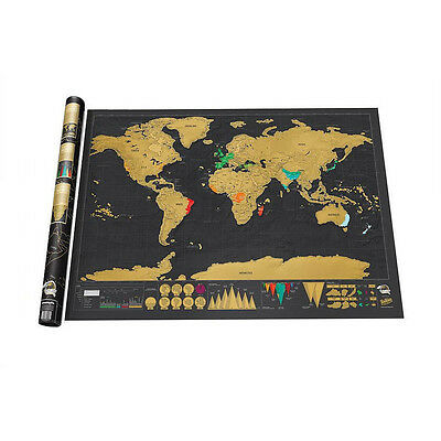 Upgrade Poster Map Deluxe Scratch Travel Log Constellations World Map Glow  HCXM