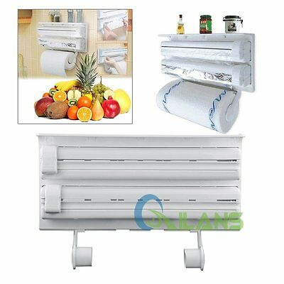 Kitchen Roll Holder Cling Film Kitchen Towel Foil Dispenser Wall Mounted AUSTOCK