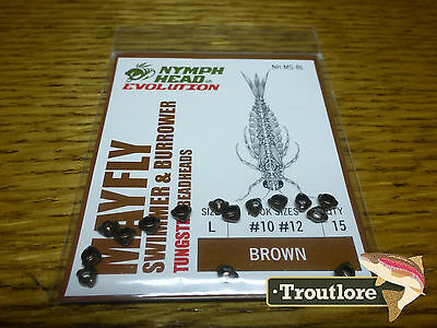 Flymen Tungsten Nymph Head Mayfly Swimmer Brown Large - New Fly Tying Materials