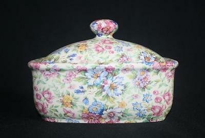 Butter Dish Chintz Heron Cross Pottery Staffordshire Victorian Style New