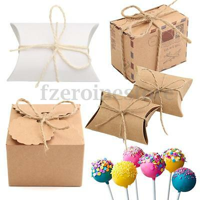 50x Pillow Favor Sweets Candy Boxes Kraft Paper Gift Box Wedding Party Favour