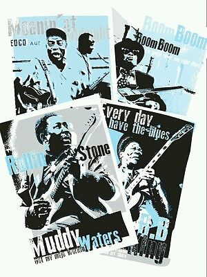 Set of 4 Blues music posters celebrating blues icons (unframed)