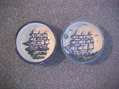 M.a. Hadley Stoneware Bowls Showing Ship - Lot Of 2