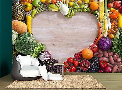 Wooden Heart Fruits Vegetables Food Wall Mural Photo Wallpaper GIANT WALL DECOR