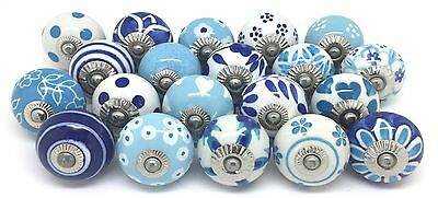 20 These Please Ceramic Door Knobs SECONDS Blue & White Mixed Set SE32