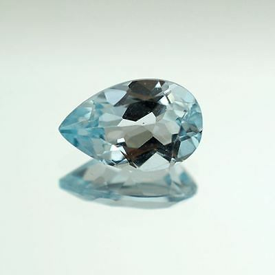 UNUSUAL 8x6mm PEAR-FACET SKY-BLUE NATURAL AFRICAN TOPAZ GEMSTONE