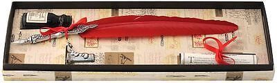 Red Feather Quill, Ink & Pewter Pen Holder Set by Coles Calligraphy
