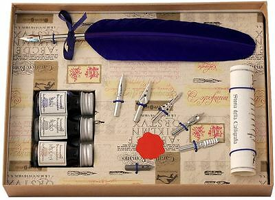 Blue Feather Quill, 3 Inks & 6 Nib Set by Coles Calligraphy