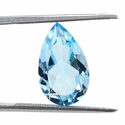 HIGH-QUALITY 9x6mm PEAR-FACET SKY-BLUE NATURAL AFRICAN TOPAZ GEMSTONE