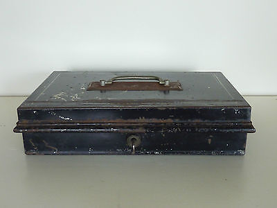 Vintage Old Antique Metal Cash Money Tin Box Till Shabby Chic Key Storage Waxed