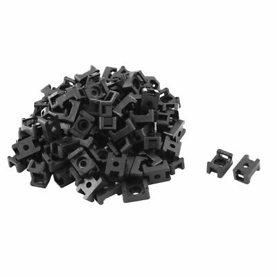 Plastic Saddle Type Cable Tie Base Mount Wire Holder Black 15 x 10 x 7mm 100 PCS