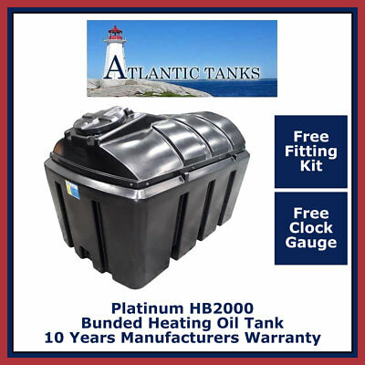 Domestic Heating Oil Storage Tank ~2000ltrs Horizontal Platinum Bunded