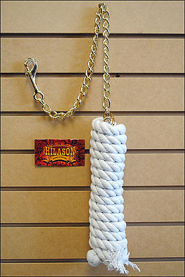 White Hilason Western Horse Tack Cotton Lead Ropes With Lead Chain 5/8 X 10