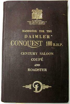 DAIMLER Conquest 100 BHP Century Saloon Coupe Roadster Car Owners Handbook 1954