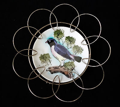 Vintage Blue Bird Art Hand Painted Plate Wall Hanging Porcelain and Metal Frame