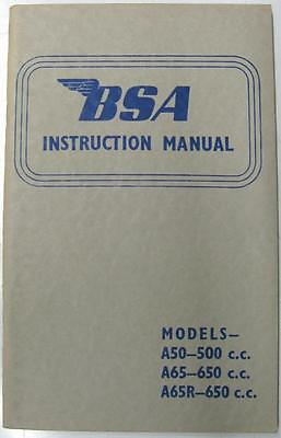 BSA A50, A65, A65R Original Motorcycle Owners Handbook 1966 #MC1418