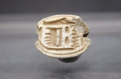 Ancient Egyptian Faience Scarab Beetle With Hieroglyphs, Middle Kingdom