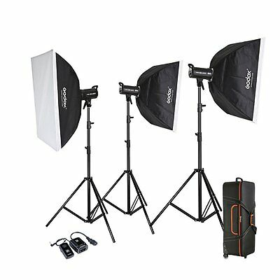 Godox 1200w 3X SK 400W Photography Photo Studio Strobe Flash Light Softbox Kit