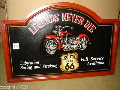 Tabella pub in legno con rilievo MOTO CUSTOM LEGENDS ROUTE 66