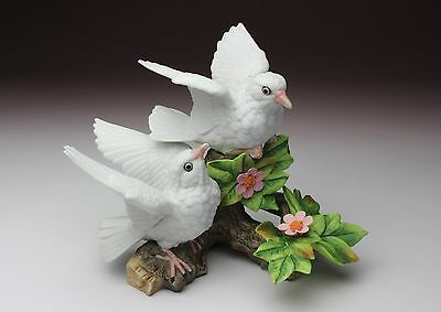 White Dove Pair Birds Porcelain Bisque Figurine Japan Retired Factory Find