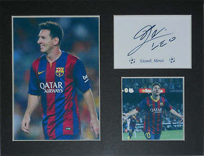 Lionel Messi football photo print mounted 8x6 printed autograph gift display #T