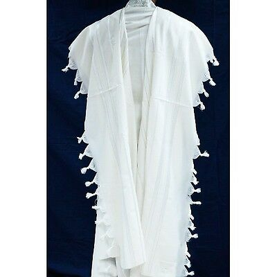 TRADITIONAL WOOL TALLIT WITH GOLD & WHITE STRIPES - Jewish Prayer Shawl SIZE 80