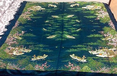 Antique Chinese Silk Embroidered Embroidery Bedspread Or Tablecloth Chinese Life