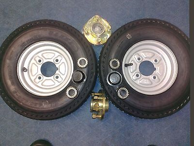"2 x Trailer Wheels 400 x 8"" 4"" pcd with Trailer hubs and bearing Kit"