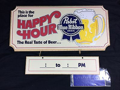 Pabst Blue Ribbon Beer Wood Sign Happy Hour Bar Pub Man Cave! PBR