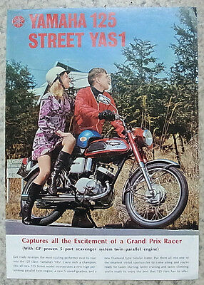 YAMAHA 125  STREET YAS1 Motorcycle Sales Specification Leaflet c1968 #45.10x10