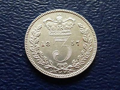 Queen Victoria Silver Threepence 1857 Great Britain Uk