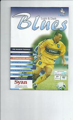 Wycombe Wanderers v Peterborough United Friendly Football Programme 1999/00