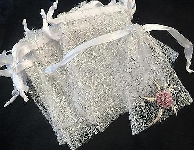 20 PREMIUM QUALITY WHITE with SILVER GLITTER MESH GIFT FAVOUR BAGS 12cm X 10cm