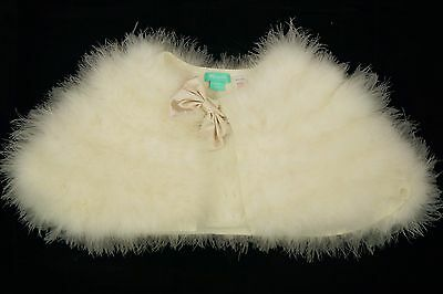 Monsoon Cream Girls Feather Bridesmaid Party Shawl Cape Size 6-7-8-9-10 *vgc*