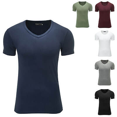 Jack & Jones Herren Basic T-Shirt Kurzarm Shirt V-Neck Slim Fit Top Color Mix %