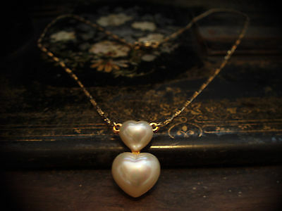 Butler & Wilson Vintage  Pearl Heart Necklace on a Gold Plated Chain