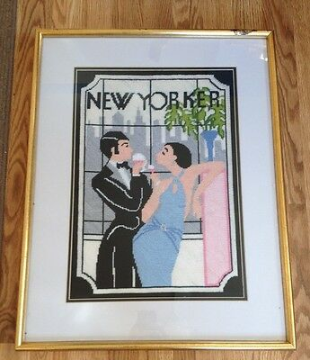 """Gorgeous Framed & Matted Vintage Embroidery, """"  New Yorker """" Deco Style"""