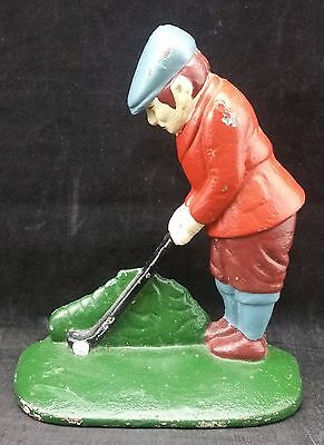 Vintage Style Painted Cast Iron Golfer Door Stop, 18.5cm tall, Golf