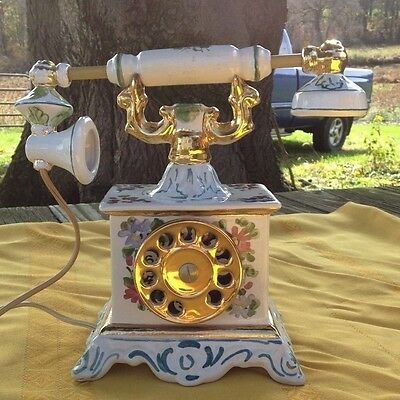 """Hand Painted French Telephone by """"Cesare"""" 1969 Decanter- R.E.M Made in Italy"""