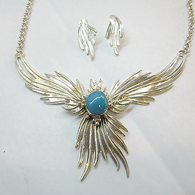 Navajo CHARLES JOHNSON Sterling Silver Turquoise Phoenix Necklace & Earrings Set