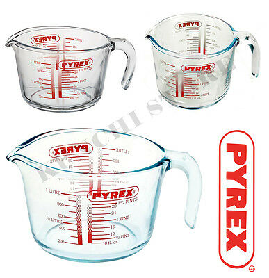 Pyrex Measuring Jug Borosilicate Glass Microwave Dishwasher Safe 0.250L/0.5L/1L